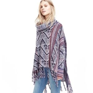 """Free People """"Be The One"""" Fringe Poncho Sweater"""